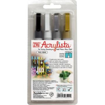 ZIG Arts & Crafts Acrylista Extra Fine 4 Colors Set (PAC-10-4V) - extrafinom hegyű marker szett, 0.5mm négy színű